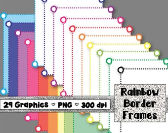 Digital Doodle Border Frames - 29 Sheets - 300dpi - 8.5x11 inches - PNG format - Personal and Commercial - Instant Download - Rainbow Color