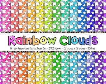 WATERCOLOR Rainbow + White Doodle Clouds Digital Paper Set - Scrapbook Paper - 14 Sheets - 300dpi - 12x12 - JPEG - Commercial/Personal Use