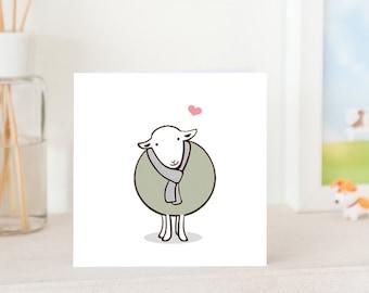 Animal Greeting Cards -  Handmade - Cute Herwick Sheep with Love