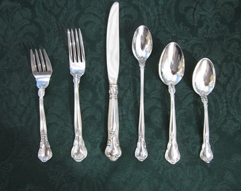 6-PC Vintage Gorham Chantilly Sterling Silver Flatware Place Settings, Mint Condition, No Monograms