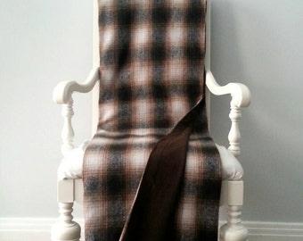 Cabin Brown Plaid Wool Throw Blanket