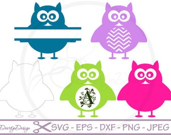 SVG Monogram Owl Vector Files, Svg files for cricut Owl Monogram Cut Files Owl, Silhouette files Monogram Owl, Monogram Circle Owl