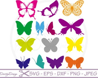 SVG cut files Butterflies Silhouette Clipart, Clipart Butterflies, SVG files, DXF files Clip art Butterflies, vector files, instant download