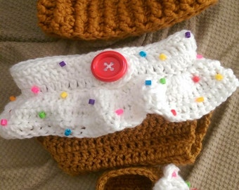 Cupcake Baby Hat, Diaper Cover, and Booties