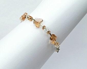 Light Salmon Glass Butterfly Bracelet