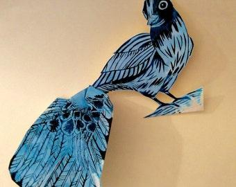 Blue Jay - Bird Woodcut Print