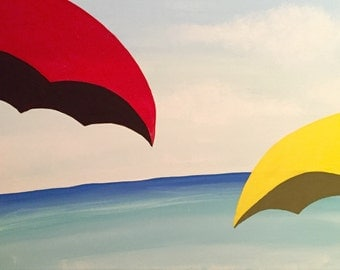 Yellow and Red Umbrellas