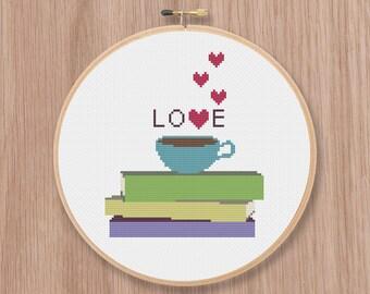 Books Tea Love Cross Stitch Pattern