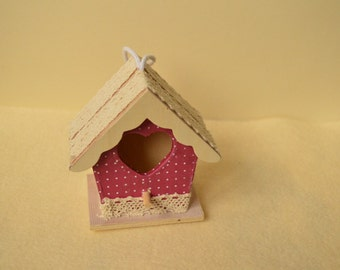Wooden bird house, small birdhouse, hanging decoration