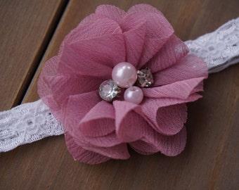 Pearl and Rhinestone Lace Headband