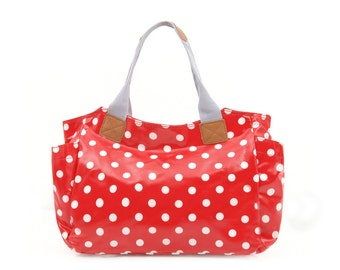 Oilcloth Shoulder bag - Red Polka dot bag - Ladies handbag- Oil cloth zip bag- Woman purse- Zip Tote bag - Fabric Day bag - Laminated cotton