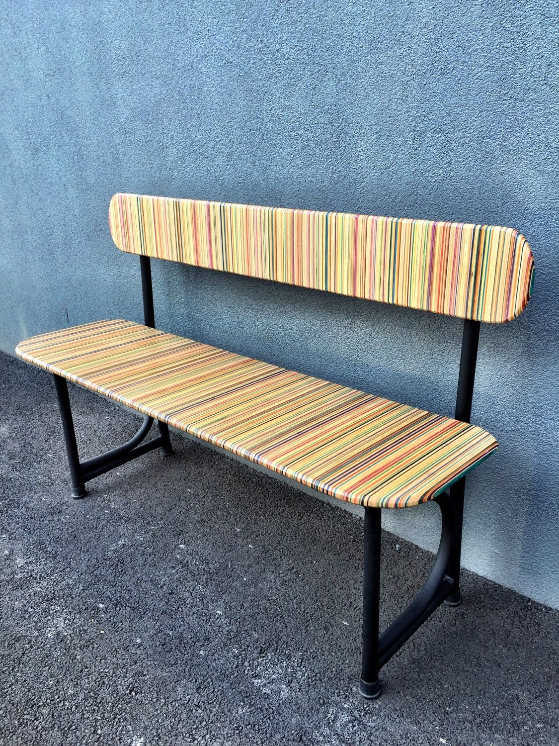 recycled skateboard school bench