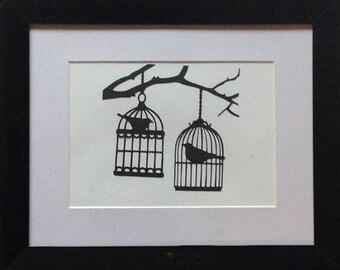 Vintage birdcage papercut frame