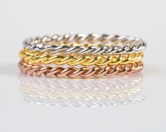 2MM Twisted wedding Band, Dainty Gold ring ,  solid gold ring , wedding band , Gold Stacking Ring , Twisted Ring , 1,6MM twisted ring