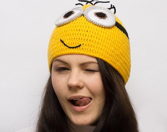 knitted minion hat adult Funny Hat,Winter Hat, funny gift