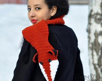 Scarf,Red Fox scarf,knit scarf,crochet scarf ,Long orange scarf,winter scarf
