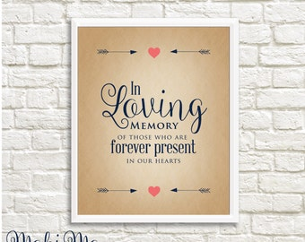 """In Loving Memory - Rustic/Navy Blue/Coral/Instant Download_8""""x10"""""""