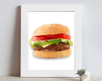Kitchen Art - BBQ Decor - BBQ Decoration - Burger Art - Cheeseburger Print - Restaurant Decor - Food Prints - Geometric Art - Kitchen Decor