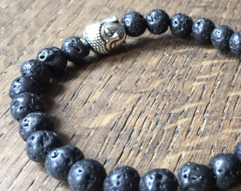 Black Lava Aromatherapy Bracelet, essential oil diffuser, yoga, meditation, Gift for Him or Her, unisex,