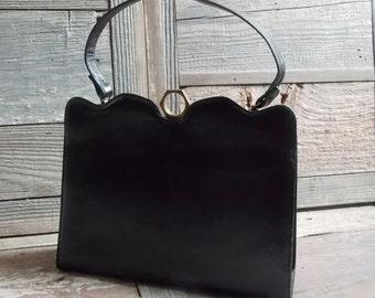 Dobbies handbag, black leather, vintage 60s, cut hand bag. made by Dobbies bags, standalone handbag, classy vintage purse