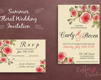 Floral Printable Wedding Invitation