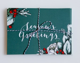 Holiday Card Set - Woodland Floral - Season's Greetings - Folded Christmas Cards - Traditional Holiday Cards