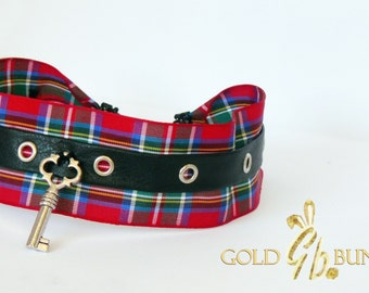 Tartan choker, play collar  with eyelet and black leather trim.
