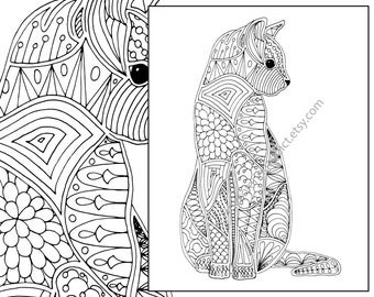cat coloring page, advanced coloring page, adult coloring page, intricate cat coloring pdf, printable cat coloring, digital coloring pdf