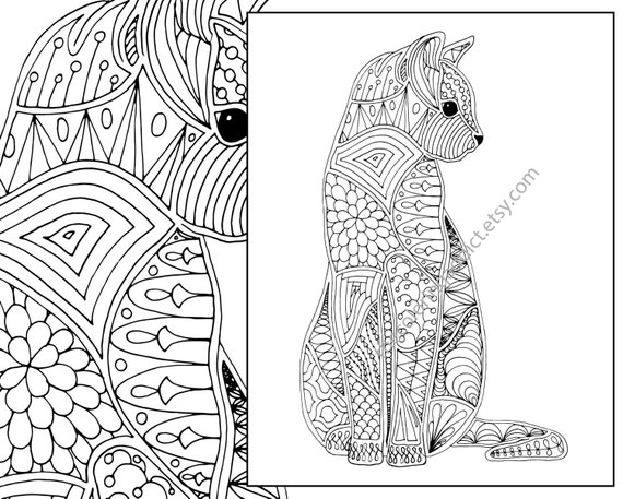 cat coloring page advanced coloring page adult coloring page intricate cat coloring pdf printable cat coloring digital coloring pdf - Intricate Coloring Pages For Adults