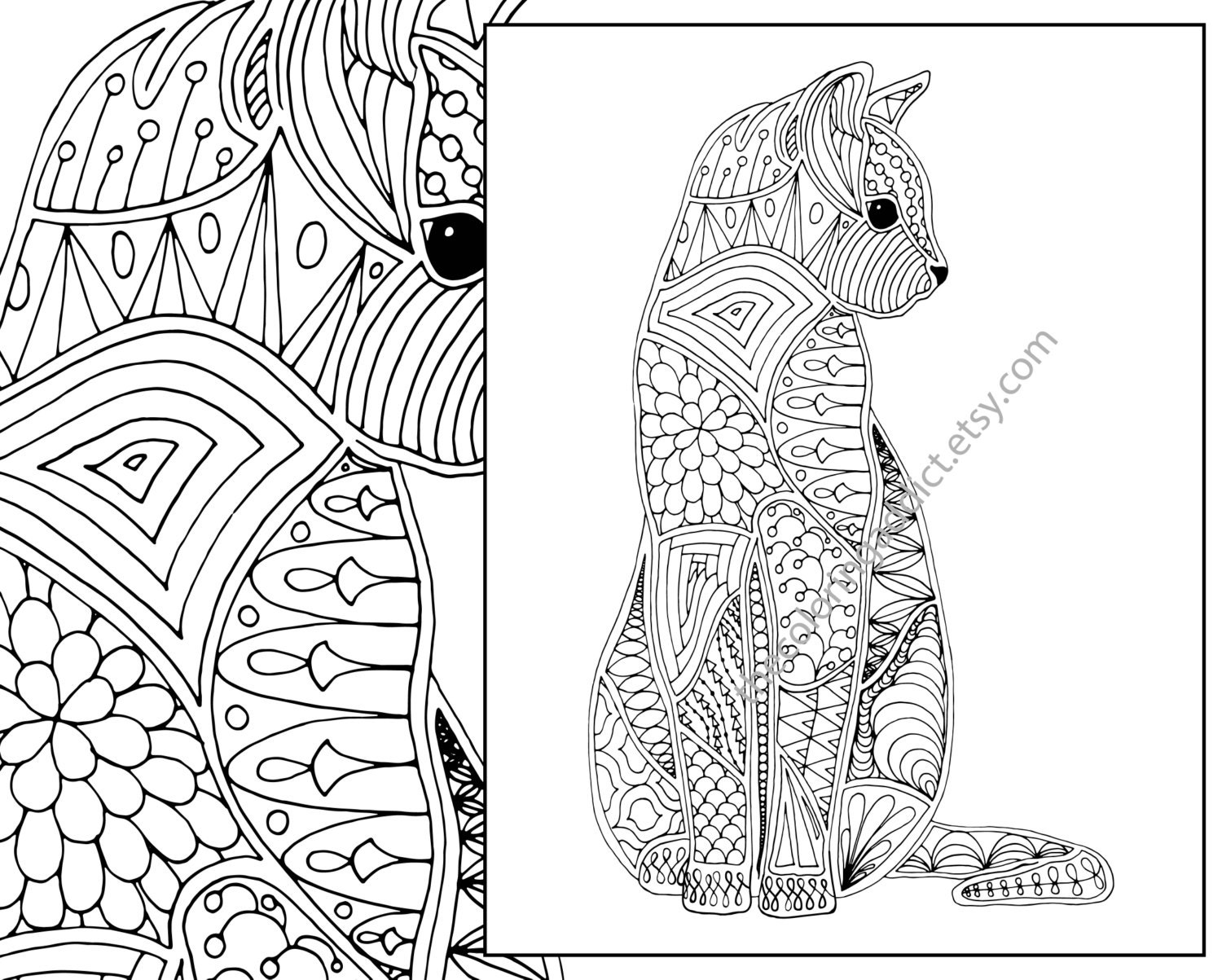 Intricate Cat Coloring Pages : Cat coloring page advanced adult