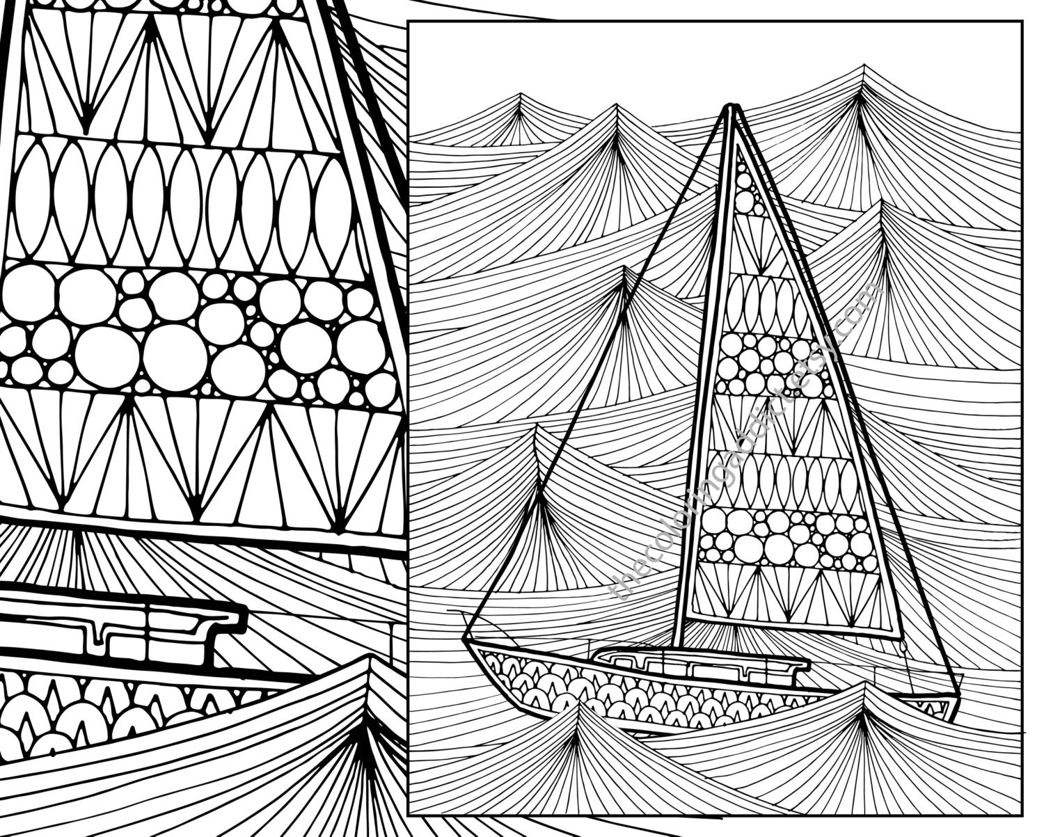 Ocean Wave Adult Coloring Page Sailboat Adult Coloring Sheet