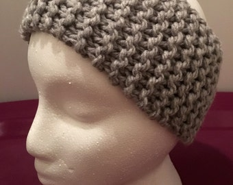 Child Knitted Headband/Ear-warmer Light Gray (Ages 5-10)