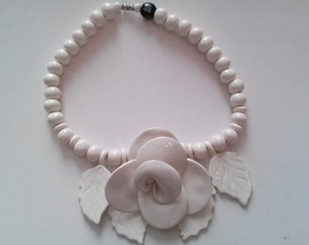 Ceramic Floral Necklace by Bean Finneran