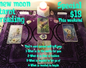 New Moon January 9 2016 4 Card Tarot Reading Spread in a Pdf using the Shadowscapes Tarot Deck