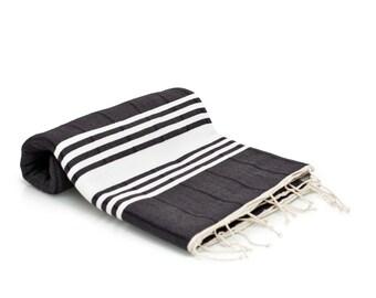 100% Cotton Large Turkish Bath Towel - Peshtemal - Fouta Towel - Beach Cover Up - Blanket - Black