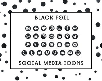 Social Media Icons / Black Foil Icons / Glam Black Buttos |  Icons for website, blog, business cards and resume / Social Media Buttons