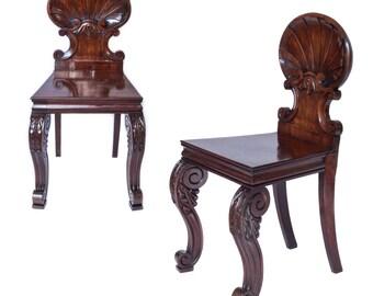 Rare Pair of Regency Irish Hall Chairs, c. 1820