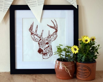 Scottish Deer Lino Cut Print