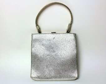 Vintage After Five Metallic Silver Lame Evening Purse w/ Strap - Handbag / Clutch