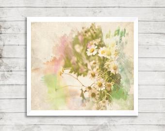 Daisy field watercolour smudges floral digital print