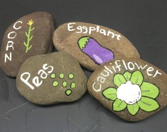 Painted River Rock Garden Marker
