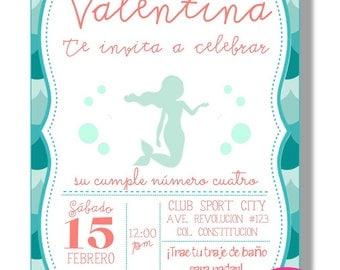 Invitation birthday Digital under of the sea, Little Mermaid. Printable digital invitation.