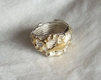 925 Silver ring with gold lacquer