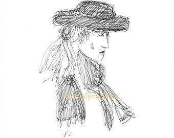 Street Folk Series - The Lady in the Hat ink sketch - varied sizes
