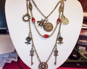 Steampunk Victorian MERMOZ necklace watch key gears steampunk necklace jewelry