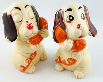 Salt and Pepper Doggies on the Phone
