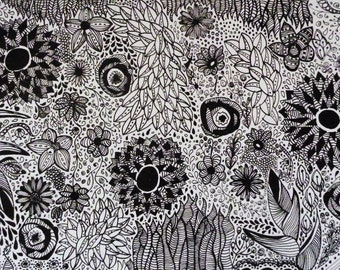 Original Illustration Andean Nature Pen and Ink, Black and White Art,Drawing