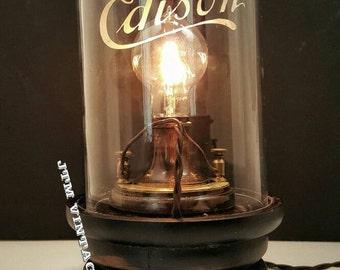 1879 Thomas Edison museum menlo park lamp replica. Carbon filament bulb, silk wiring,  brass post,  Thomas alva edison,  telsa rival