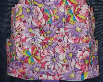 Egg Gathering Apron,12-Pockets, Handmade Purple Flowers & Butterflies w/ ladybug