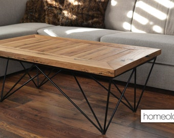 Coffee table with solid old oak - modern, industrial furniture for your living room - AMAL1